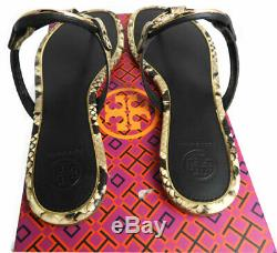 Tory Burch Miller Thongs Metal Snake Leather Sandals Shoes Flip Flops 6 Slides