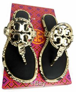 Tory Burch Miller Thongs Metal Snake Leather Sandals Shoes Flip Flops 8 Slides
