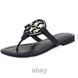 Tory Burch Miller Thongs Navy Metal Leather Sandals Shoes Flip Flops 5.5 Slides