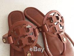 Tory Burch Miller Vachetta Brown Leather Sandals Flip Flops Size 8