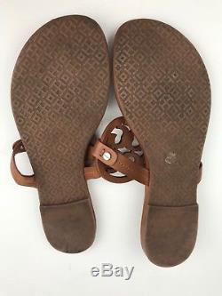 Tory Burch Miller Vintage Vachetta Brown Leather Flip Flop Sandals Size 9.5