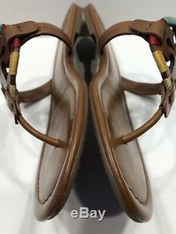 Tory Burch Miller Vintage Vachetta/Embroidered Logo Leather Sandals Sz 9 M