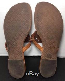 Tory Burch Miller Vintage Vachetta Leather Flip Flop Sandals Size 8M