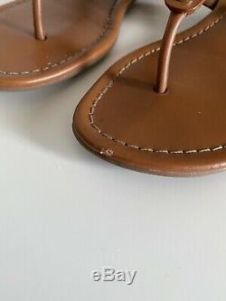 Tory Burch Miller Vintage Vachetta Leather Thong Strap Sandals Women Sz 7.5