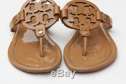 Tory Burch'Miller' Women Flip Flop Flat Sandals Sand Patent Leather Size 6.5 M