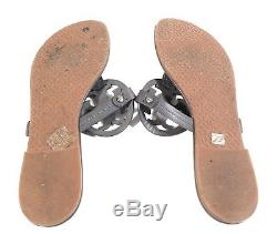 Tory Burch Miller Women Shoes Logo Flip Flops Leather Thong Brown Sandals Sz 9 M