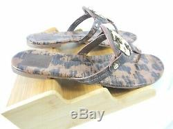 Tory Burch Miller Women's Flat Thong Sandals Leather Animal Print size 9.5 box