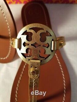 Tory Burch Mini Miller/gabriel Thong Lthr Sandal Gold Colorsz 7.5m Bnibret$189