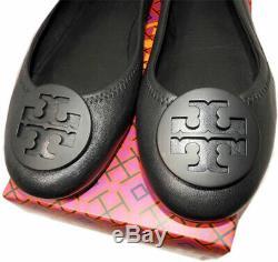 Tory Burch Minnie Reva Ballerina Flats Black Leather Logo Ballet Shoes 9.5