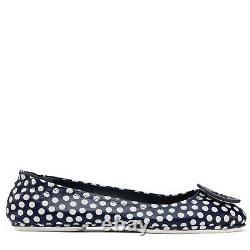 Tory Burch Minnie Reva Ballerina Flats Blue Leather Polka Dot Ballet Shoe 7.5