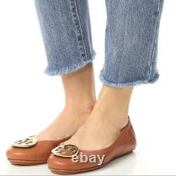 Tory Burch Minnie Travel Ballet Flat Royal Tan/gold Leather 8.5 Slip On Shoe