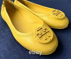 Tory Burch Minnie Travel Ballet Flat Shoe Aged Lemon Leather Logo Sz 8 Nib
