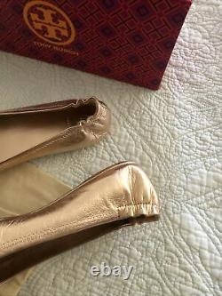 Tory Burch Minnie Travel Rose Gold Ballet Flats Shoes Women Size 8.5 New in Box