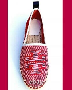 Tory Burch Miranda Lug Sole Logo Espadrille Flat Slip-on Shoe Red/ivory Sz 9