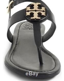 Tory Burch NEW Bryce Black Leather Flat Thong Sandal Style Runs True to Size