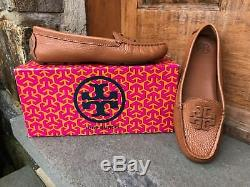 Tory Burch NEW Lowell Driver Moccasin Royal Tan Tumbled Leather Flat $265 Brazil