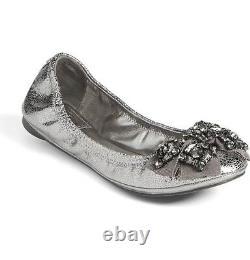 Tory Burch NEW MISMATCH 7.5 8 M Azalea Womens Silver Leather Ballet Flat Shoes