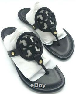 Tory Burch NEW Miller Black Leather Flat Sandals Double T Logo Runs Small $198