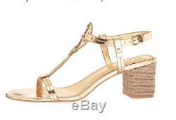 Tory Burch NEW Miller Gold Espadrille 65 MM Jute Block Heel T-Strap Sandal $268