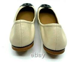 Tory Burch NEW Minnie Ballet Shoe Cream Leather Black Patent Cap Toe Size US 9