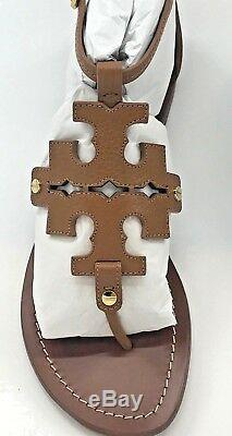Tory Burch NEW Phoebe Royal Tan Leather Logo Flat Thong Sandals RUN LARGE $298