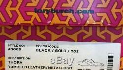 Tory Burch NEW Thora Black Tumbled Leather Flat Thong Flip Flop Sandal