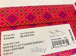 Tory Burch NIB Bryce Flat Thong Sandal Black Leather #43066 Logo Rare MANY SIZES