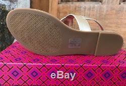 Tory Burch NIB Bryce Metallic Spark Gold Flat Thong Sandal Style #46233 $228