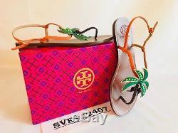 Tory Burch NIB Castaway Flat Sandals Neon Tangerine Nubuck #48274 MANY SIZE RARE