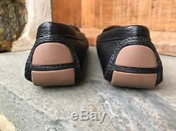 Tory Burch NIB Lowell Driver Moccasin Black Tumbled Leather Flats Runs Small