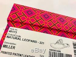 Tory Burch NIB MILLER LEOPARD Flat Thong Sandal Patent Leather #40173 Logo Sz 5