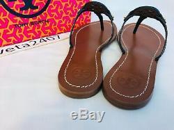 Tory Burch NIB MINI MILLER Thong Flat Sandals Leather Logo #32340 BRIGHT NAVY