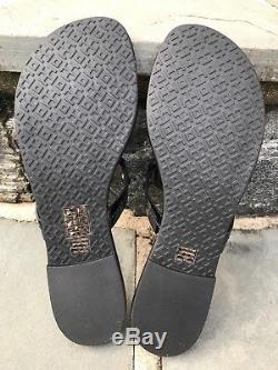 Tory Burch NIB Miller Black Patent Leather Logo Flat Sandals US 8 #50008647