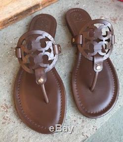 Tory Burch NIB Miller Chocolate Brown Leather Flats Logo Sandals Brazil $228