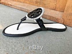 Tory Burch NIB Miller Fringe Black White Bleach Thong Leather Logo Sandal $225