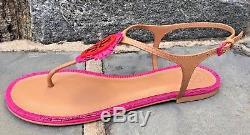 Tory Burch NIB Miller Fringe Dusty Cypress Hibiscus Pink Thong Sandal 7 #33126