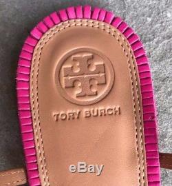 Tory Burch NIB Miller Fringe Dusty Cypress Hibiscus Pink Thong Sandal 7.5 #33126