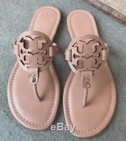 Tory Burch NIB Miller Light Makeup Leather Logo Thong Sandals #21168647 $198