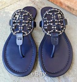 Tory Burch NIB Miller Navy Blue Leather Embellished Logo Sandals #40861 $228
