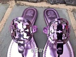 Tory Burch NIB Miller Rosa Mirror Metallic Flat Thong Sandals US 8.5 #40175 $198
