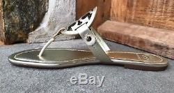 Tory Burch NIB Miller Spark Gold Logo Leather Flat Sandals Sz 7 Brazil #36540