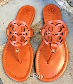 Tory Burch NIB Miller Vintage Vachetta Leather Logo Sandals Brazil 50008694 $198