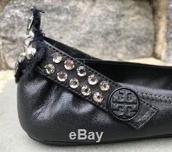 Tory Burch NIB Minnie Embellished Crystal Two Way Black Leather Ballet Flat $298