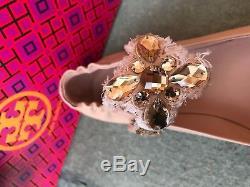 Tory Burch NIB Minnie Embellished Crystal Two Way Blush Leather Ballet Flat $298
