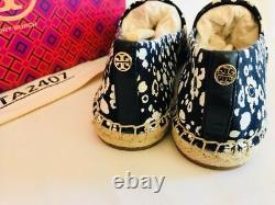 Tory Burch NIB Navy Floral Canvas RISA Espadrille Veg Leather Flat Shoes Sz 8
