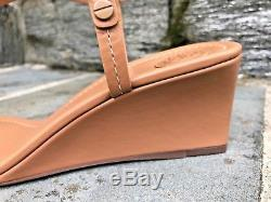 Tory Burch NIB New Current Miller Tan Dusty Cypress 60mm Wedge Logo Sandal $268