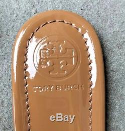 Tory Burch NIB New Miller Sand Patent Leather Logo Sandals Runs. 5 size small