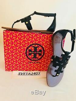 Tory Burch NIB Phoebe Flat Thong Sandals Black Tumbled Leather #30437 MANY SIZES