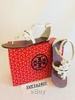 Tory Burch NIB Phoebe Flat Thong Sandals Ivory Tumbled Leather #30437 Sz 8.5 9