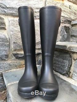 Tory Burch NIB Sarah Gold Logo Black Rubber Tall Rain Boots Style #37568 $325